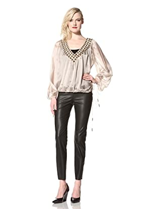 Sheri Bodell Women's Matisse Long Sleeve Blouse with Beaded Neck (Zinc)