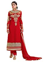 atisundar angelic Red Straight Cut with Embroidery and Digital Print- 6445_51_28003