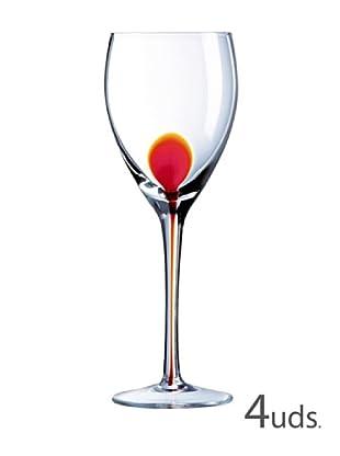 Luminarc Estuche 4 Copas Agua 35 Cl Modelo Drip Rojo