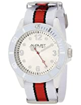 August Steiner Kids' AS8061PK Juniors White Plastic Watch with Striped Nylon Band