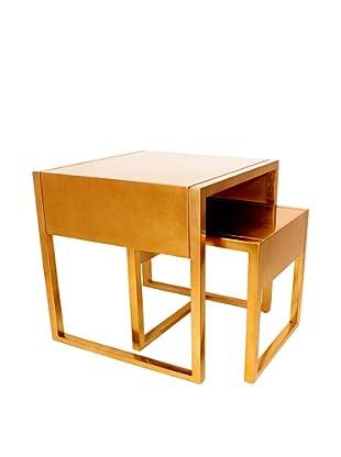 Set of 2 Gold Leaf Stacking Tables, Gold