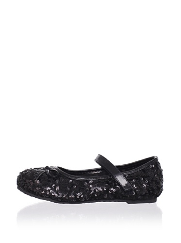 China Doll Girl's Glam Sequin Mary Jane (Onyx)