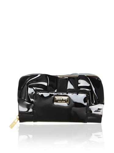 Felix Rey Women's Patent Ruffle Wallet, Black
