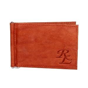 RL W 8 - Tn Tan Leather Money Clip & Credit Card Holder For Men