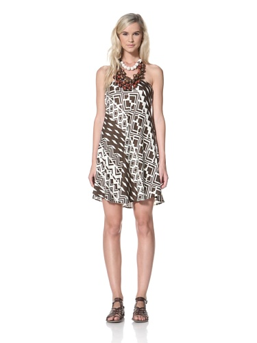 TBags Los Angeles Women's Strapless Dress (Brown & White)