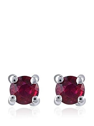 Divas Diamond Pendientes Rubí Plata