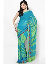 Georgette Aqua Blue Saree Satya Paul