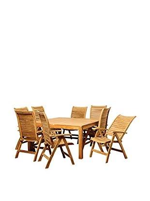 Amazonia Teak California 9-Piece Square Dining Set, Brown