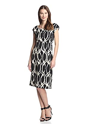 Melissa Masse Women's Boatneck Sheath Dress (Black Creme Abyss)