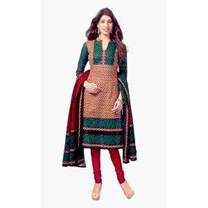 SGC- Fawn cotton unstitched Churidar kameez with dupatta-SG-429