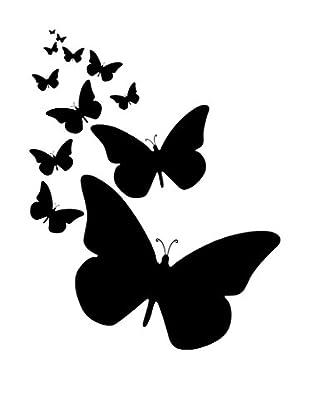 Ambiance Live Wandtattoo Cloud of butterflies walls schwarz