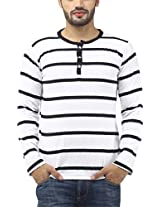 Leana Men's Button Front Cotton T-Shirt (SR34_White Black_XXL)