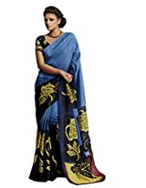 sareez Blue & Navy Blue Color Bhagalpuri Silk Saree