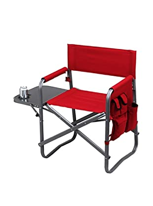 Folding Directors Chair With Table & Organizer, Red
