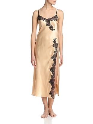 Oscar de la Renta Pink Women's Lavish Lace Long Nightgown (Soft Gold)