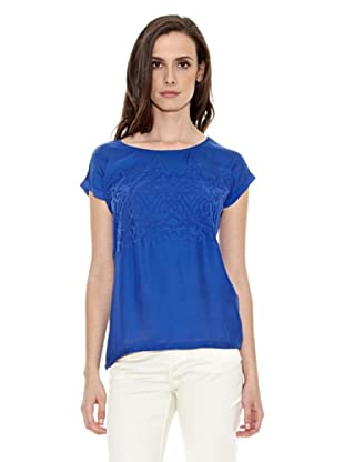 Cortefiel Camiseta Bordada Delant (Azul)