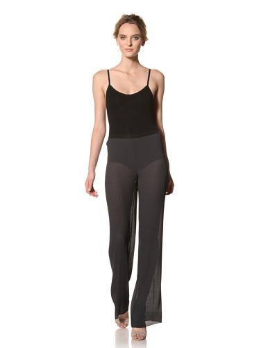 Les Copains Women's White Label Black Pleated Full Pant (Asphalt)