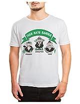 Bushirt Men's Round Neck Cotton T-Shirt (DN00095- Teen Bandar_Cream_Medium)