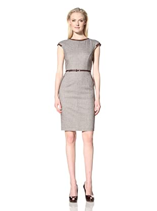 Les Copains Women's Cap Sleeve Mini Houndstooth Dress (Brown/Black)