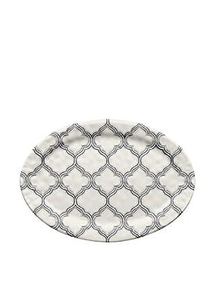 Ikat Melamine Oval Platter, White/Grey