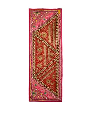 Uptown Down One-of-a-Kind Floor Runner of Vintage Tribal Collars, Red/Pink/Orange