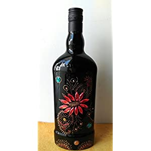 Artiliciously Your'S Floral Black Painting On Recycled Glass Bottle