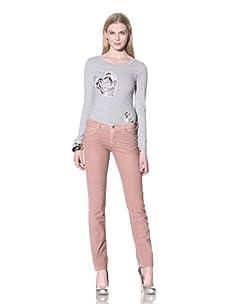 LOVE Moschino Women's Skinny Corduroy Pant (Over/Pink)