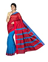 Korni Cotton Silk Banarasi Saree SHDEQ-323- Blue/Red KR0444