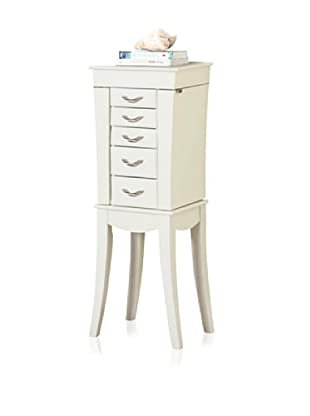 Tower 5 Drawer Jewelry Armoire (White)