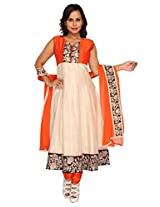 Sanskruti Creations Women Silk Cotton Salwar Suit Set (Sc-306-Orange-M _Orange _Medium)