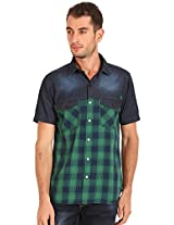 Sting Green Checked Slim Fit Half Sleeve Cotton Casual Shirt - L