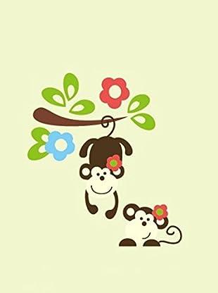 Ambiance Live Wandtattoo Monkeys and flowers mehrfarbig