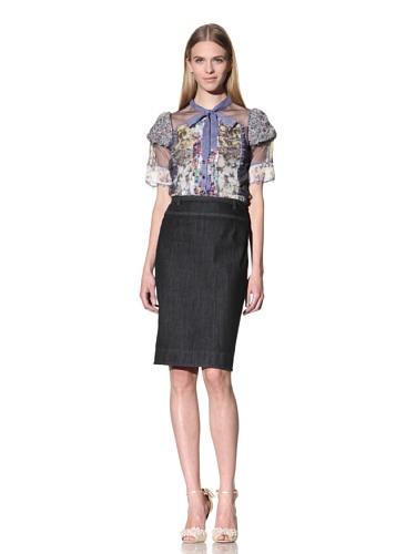 Byron Lars Women's Back-Button Denim Skirt Pencil Skirt (Denim)