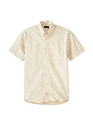 Gitman Blue Men's Dotted All Over Print Long Sleeve Sportshirt (Beige/Grey)