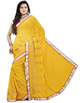 Suchi Fashion Yellow Heavy Embroidery and Diamond Work Chiffon Saree