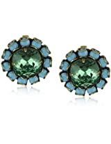 "Liz Palacios ""Circulo"" Turquoise-Color Crystals Erinite Cushion Center Earrings"