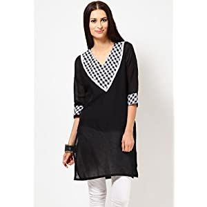 3/4Th Sleeve Solids Black Kurti