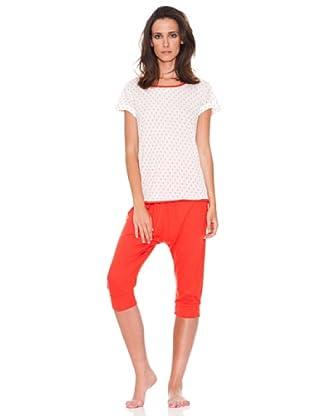 Women secret Pijama Capri Mc Spring Paisley (Marfil/Rojo)