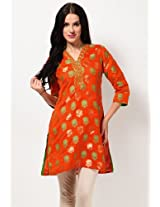 Cotton Blend Orange Kurta Biba