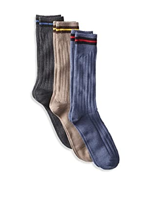 Florsheim Men's Striped Cuff Socks (3 Pair) (Charcoal/Taupe/Denim)