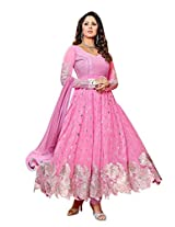 Vibes Women Georgette Salwar Suit Dress Material (V176-944 _Pink _Free Size)