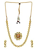 BGS Style Diva Kundan Necklace Set With Earring And Ring