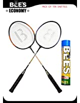 BEES ECONOMY BADMINTON SET + 10 KILLER SHUTLES