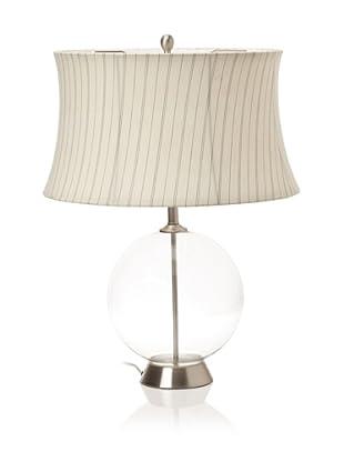 Lighting Enterprises Round Glass Table Lamp (Clear/Satin Nickel)