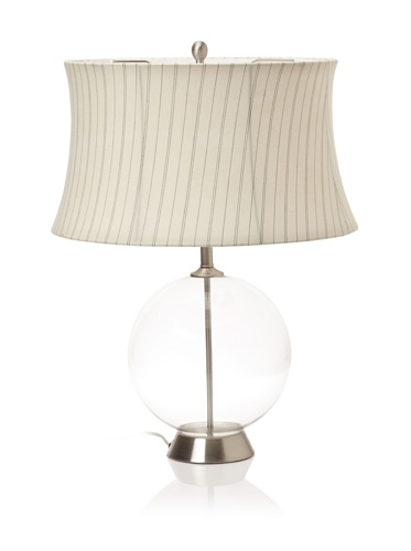 Lighting Enterprises Round Glass Table Lamp (Clear/Satin Nickel)