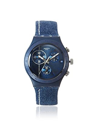 Swatch Men's YCN4008 Blue Denim Leather Watch
