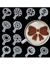 12 Pcs Plastic Latte Mold Cappuccino Coffee Decorating Tool Latte Art Coffee Stencils