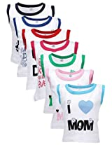 Goodway New Born Mom & Dad Theme Combo Pack of 7 Vest - 0-6 Months