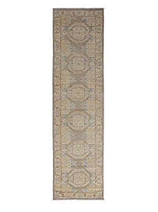 Darya Rugs Khotan Oriental Rug, Light Blue, 3' x 11' Runner