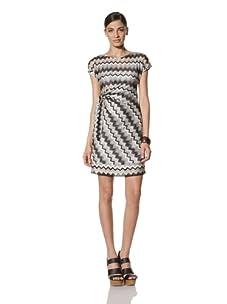 Donna Morgan Women's Zigzag Printed Side Tie Dress (Black/White)